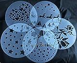 Torten Schablonen Tatoo Kuchen Dekoration 5er Set Geburtstag Happy Bithday Frühling Blumen Herzen Muster Sterne Weihnachten Verzierung von ROYAL HOUSEWARE