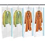 MRS BAG Hängend Vakuum Aufbewahrungsbeutel mit Kleiderhaken - 4*Extragroß Vakuum Platzsparer mit Handpumpe, Vakuum Kleiderbeutel für Kleidung Aufbewahrung - Platzsparende Lösung für zu Hause & Reise