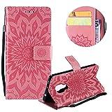 Gurt Brieftasche für Huawei Mate 20,Rosa Handyhülle für Huawei Mate 20,Moiky Ziemlich Schöne Mandala Sonnenblume Geprägt Klappbar Kartenfächer Stoßdämpfende Ledertasche mit Stand