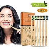 6er Pack Bambus Zahnbürste Holzzahnbürste, 100% BPA-freie Bambus Zahnbürsten, vegan, nachhaltig, biologisch abbaubare Holzzahnbürsten, natürlich, umweltfreundlich für gesunde weiße Zähne
