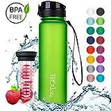 720°DGREE Trinkflasche 'uberBottle' - 1L | Wasserflasche Auslaufsicher | Sportflasche, Schule, Sport, Fahrrad | BPA-Frei | Mit Fruchteinsatz