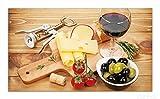 Wallario Herdabdeckplatte / Spritzschutz aus Glas, 1-teilig, 90x52cm, für Ceran- und Induktionsherde, Genuss am Abend - Rotwein, Käseplatte, Oliven und Tomaten