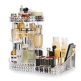 KVASS Schmink Aufbewahrung 360 Grad Drehbarer Beauty-Organizer mit Einstellbarer Lippenstift Pinsel Nagellack Kosmetikbox für Schlafzimmer, Badezimmer transparent