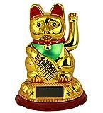 HAAC Solar Winkekatze Katze GLÜCKSKATZE Glücksbringer 20 cm Farbe gold / rot