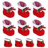 20 Stück Nikolausstiefel zum Befüllen Weihnachtsdeko Rot Klein Plüsch Stoff Weihnachtsstiefel Set Adventskalender Weihnachtsgeschenke Kinder Bonbons Süßigkeiten Weihnachtssocken