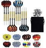 Newroad dart oku, 12 adet çelik dart oku seti, 20 gram profesyonel çelik dart metal uçlu, dart okları, alüminyum şaft, 30 kanat, 50 kaymaz lastik halka