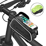 Fahrrad Rahmentasche, FishOaky Wasserdicht Oberrohrtasche Fahrrad Lenkertasche Handytasche Handyhalterung Handyhalter Handytasche mit Kopfhörerloch Reflektierend für Smartphone unter 6,5 Zoll
