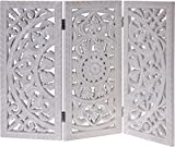 Meinposten Holzornament weiß 60x45 cm Shabby Landhaus Mandala Holz Holzbild eckig Ornament Paravant