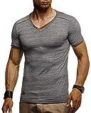 Leif Nelson Herren Sommer T-Shirt V-Ausschnitt Slim Fit Baumwolle-Anteil | Moderner Männer T-Shirt V-Neck Hoodie-Sweatshirt Kurzarm lang | LN1355 Anthrazit Medium