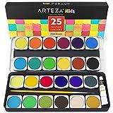 ARTEZA Kids Premium Malksten | Aquarellfarben-Set mit 25 Wassermalfarben | Enthält Pinsel und Deckweiß | Ideal für Kinder zum Malen mit Wasserfarben