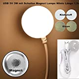 Eleidgs Mini 3W 5V USB Magnet- Lampe LED Nachtlicht Mit Schalter für Computer / PC / Notebook/ USB-Schnittstelle Camping Trip (Warmweiß)