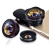 Handy Objektiv Set fisheye Lens - 3 in 1 Clip On Fischauge Kamera Adapter (0.28 X fisheye,0.6X 130° Weitwinkelobjektiv, 15X Makroobjektiv) for Smartphones