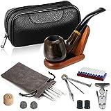 Joyoldelf Tabak Pfeifen Set,vertieft und winddicht Holzrohr mit Leder Tabakbeutel, Holz Ständer und Pfeifen Zubehör
