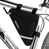 Fahrradtasche Fahrrad Dreieck Tasche - YeeStone Fahrradrahmen Tasche Wasserdichte Triangle Bag mit Doppelseitige Reflektierende Dekoration, Schwarz