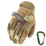 MECHANIX WEAR M-PACT Tactical Einsatz-Handschuh, optimaler Schutz, atmungsaktiv beste Passform + Gear Karabiner, Schwarz Covert, Coyote, Multicam, Wolf Grey, Größe: S,M,L,XL (M, Multicam)