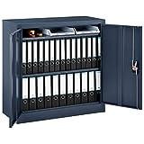 Juskys Metall Aktenschrank Office mit 2 Türen & 2 Einlegeböden | 90 x 90 cm | abschließbar | 2 Schlüssel | anthrazit | Metallschrank Materialschrank