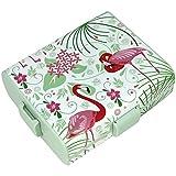 COM-FOUR Brotdose mit Flamingo-Motiven für Unterwegs, Lunch-Box mit Trennwänden, 19,5 x 17,5 x 6,5 cm (01 Stück - Flamingo)