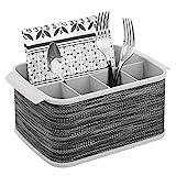 mDesign Besteckhalter mit Griffen - dekorativer Besteckkorb für Küche, Esszimmer, Garten oder Picknick - Besteckorganizer mit 5 Fächern - grau