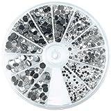 RAYHER HOBBY 15130801 Hotfix Strasssteine zum Aufbügeln, Größenmix 2-5 mm, Bergkristall, 580 Stück