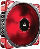 Corsair ML120 Pro LED PC-Gehäuselüfter (120mm, mit Premium Magnetschwebetechnik, rot LED, Single Pack) schwarz/rot