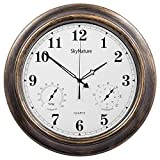 SkyNature Outdoor-Uhr wasserdicht, 45 cm Thermometer und Hygrometer, Vintage-Wanduhr, wetterfest, arabische Ziffern, dekorativ für Garten, Terrasse, Pool, Badezimmer