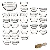 Viva Haushaltswaren - 30 x kleine Schüssel aus Glas (Ø 9 cm), als Glasschälchen sowie als Dipschale, Dessertschale, Tapasschale geeignet (inkl. kleiner Holzschaufel)