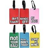 com-four 6 witzige Kofferanhänger aus flexiblem Kunststoff zum beschriften, Gepäckanhänger in verschiedenen Ausführungen (06 Stück - bunt mit Sprüchen eckig)