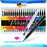 int!rend Pinselstifte Set 20 Aquarell Farben + 1 Wassertankpinsel, Brush Pen Stifte für Bullet Journal, Kalligraphie, Hand-Lettering, Art Marker Filzstifte zum Zeichnen und Malen