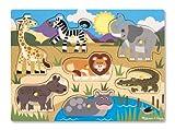 Melissa & Doug 19054 Hölzernes Steck-Puzzle - Safari Mehrfarbig