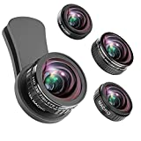 Phone Kamera Objektiv, 235 ° Fisheye Objektiv + 15 x Makro-Objektiv, 0,4 X Weitwinkel-Objektiv + 12 x Macro Objektiv, Smartphones Kamera Kit kompatibel für iPhone X, 8 7 6 6S Plus, Samsung