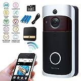 Wireless Video-Türklingel,720P HD WLAN Smart-Türklingel mit 16G-Karte 166 ° Weitwinkel Überwachungskamera.Zwei-Wege-Audio-Talk,Bewegungserkennung, Nachtsicht,App-Fernbedienung für iOS/Android