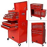 Arebos Werkstattwagen 9 Fächer rot ( zentral abschließbar,  Abnehmbarer Werkzuegkasten ,  Räder mit Festellbremse,  Massives Metall)