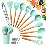 TATUFY 12 Pcs Küchenhelfer Set, Silikon Küchenutensilien, hitzebeständig Küche Utensil Set mit harten Holzgriff Antihaft/einfach zu reinigen/BPA frei Suppe Löffel, Spachtel, Schneebesen