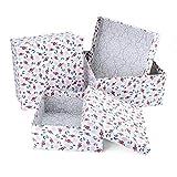 VEESUN Geschenkboxen 3 Set Verschiedene Größen, Luxus Präsentation Geschenkkarton mit Deckel, Dekorative Pappschachteln für Hochzeit Weihnachten Geburtstagsgeschenk Freund sie, Floral