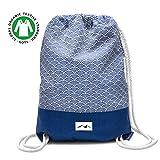 Santa Perago - Turnbeutel Fuji Blau aus 100% Bio Baumwolle | als Sportbeutel für Damen & Herren mit Reißverschluss | in 8 hochwertigen Designs