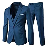 EHOMEBUY Herren Anzug Regular Fit Business Anzüge 3-Teilig Anzugjacke Anzughose Weste (XXL, Schwarz)