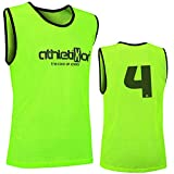 12 Fußballleibchen mit Rückennummern - Trainingsleibchen - Leibchen - Markierungshemden von athletikor (Gelb, ab B Jugend - Erwachsene XL: 73X60CM)