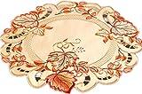 Espamira TISCHDECKE rund 40 cm Herbst Gelb BLÄTTER orange rot üppig gestickt Polyester Deckchen (Deckchen 40 cm rund)