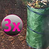 SunDeluxe 3X Stabiler Pop Up Gartenabfallsack 100 Liter doppelte Nähte Gartensack Rasensack Laubsack Gartenhilfe - praktisch Faltbar und verstaubar