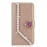 Miagon Hülle Glitzer für Huawei P30 Pro,Luxus Diamant Strass Perle Herz PU Leder Handyhülle Ständer Funktion Schutzhülle Brieftasche Cover,Gold