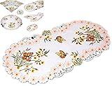 entzückende TISCHDECKE 35x70 cm oval Tischläufer Deckchen SEKT Schmetterlinge Blüte ORANGE gestickt Frühlingsdecke Frühling SOMMER