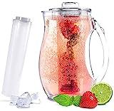 Sandford VITAL Karaffe / Wasserkaraffe (2,8l) mit Einsatz für Fruchtschorlen und Kühlung | Acryl Plastik Pitcher / Kühlkaraffe / Tee-Kanne mit Fruchteinsatz Aroma Infuser & Kühlelement für Büro, Heim