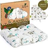 Tabalino  Traumhaft Weiche Bambus Mullwindeln Spucktücher für dein Baby  80x80cm  4er-Pack mit Schmusetuch  Mulltücher Junge  blau hellblau  Stoffwindeln aus Musselin  Moltontücher Baumwolle