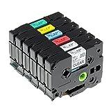 6x Schriftband Kompatible Brother P-touch Etikettenband TZe-131, TZe-231, TZe-431, TZe-531, TZe-631, TZe-731, schwarz auf transparent/weiß/rot/blau/gelb/Grün 12mm x 8m