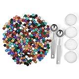 Mogokoyo 300 Stück Achtkantig Siegelwachs Siegellack Perlen Set mit 2 Stück Wachs Schmelzen Löffel und 4 Stück Kerzen für Umschlag/Briefkopf/Einladungen/Geschenk (Bunt)