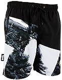 GUGGEN Mountain Herren Badeshorts Beachshorts Boardshorts Badehose Schwimmhose Männer mit Palmen *Print* Schwarz Weiss XL