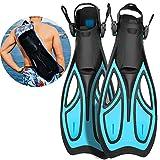 Khroom Flossen mit Verstellbarer Ferse für Erwachsene und Flossentasche zum umhängen | Unisex für Damen und Herren (Blau, 39-43)