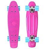 BIKESTAR Original Vintage Retro Cruiser Skateboard für Kinder und Erwachsene auch Anfänger ab ca. 6 - 8 Jahre | 60mm Kinderskateboard Retroboard | Pepper Mint & Candy Lila