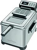 Profi Cook PC-FR 1088 Kaltzonen-Fritteuse, Deckel mit Sichtfenster, LCD-Display 6 elektrisch-regelbare Frittierprogramme, 2500 W, 4 L, schwarz / edelstahl
