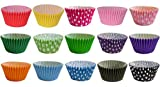 180 Muffinförmchen: 15 gemischte Farben & Pünktchen Designs / 180 Muffin Cases: 15 Mixed Colours and Polka Dot Designs